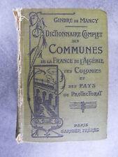 Gindre de Mancy dictionnaire des communes France Algérie Colonie 1914 population