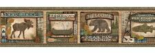 Bear Paw Lodge Wallpaper Border - Moose - Canoe - Fly Fishing - Pine Cones