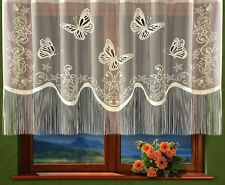 Net Curtain Cream Finished with tassels string Slot Top Ready Made Window Panel