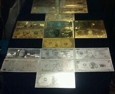 ~23Pc.LOT~24K GOLD&SILVER BANKNOTES$1-$100,000 & 2 COINS/2-FLAKE~FREE SHIPPING~