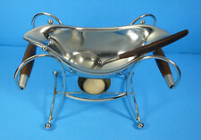 Mid Century Modern Atomic Chrome Gravy Boat Warmer Wood Handles with Ladle