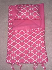 "HANDMADE SLEEPING BAG Hot Pink Lattice  For American Girl 18"" Age 3+"