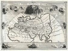 GEOGRAPHY MAP ILLUSTRATED OLD CELLARIUS ASIA EUROPE AFRICA STRABO PRINT BB4282A