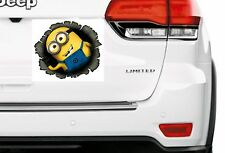 "LARGE - WAVING MINION BULLET HOLE  - WALL CAR DECAL STICKER ADHESIVE  7"" X 7"""