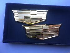 2XNEW Cadillac CTS SRX STS ATS XLR SLS CT6 Golden Trunk Fender Emblem Badges