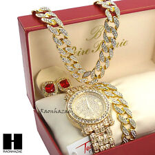 "Iced Out Techno Pave Watch 30"" Cuban Stone Chain Bracelet Ruby Earring Combo Set"