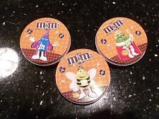 3 Mini Halloween M&M Tins Yellow, Blue & Green M&M Characters
