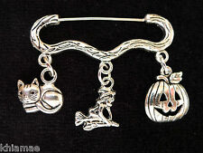 """All Hallows Eve"" Halloween Cloak Brooch pagan silver pin witch pumpkin cat"