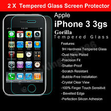 2 X 100% genuine TEMPERED verre guard film protecteur d'écran pour APPLE IPHONE 3GS