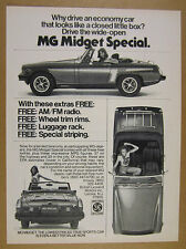 1976 MG Midget Special 3x car photo vintage print Ad