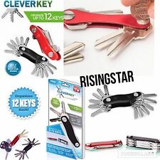 Clever Key Organizes To 12 Keys Smart Pocket Organizer USB FOB Reward Cards Red