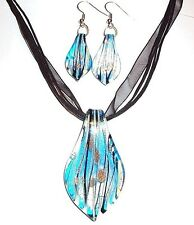 MN322e Blue Foil Bronze Gold Sparkle Lampwork Glass Pendant Necklace & Earrings
