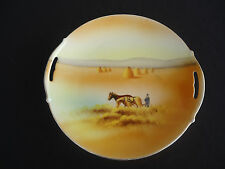 vintage antique noritake horse and plough harvest cake plate