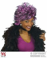 Purple Black Spikey Wig Sharon Orsbourne Punk Rocker Goth Halloween Fancy Dress