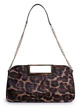 Michael Kors Berkley Haircalf Leather Large Clutch Pouch Shoulder Bag (Leopard)