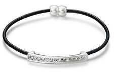 Black Leather & Matt Silver Crystal Bar Bracelet