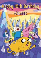 ADVENTURE TIME b PERSONALISED A5 BIRTHDAY CARD WITH COLOURING PICTURE