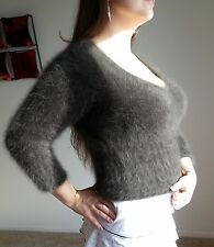 LARGE Express 80% ANGORA Sweater Furry Long Hair Fuzzy Fluffy Brown sweater girl