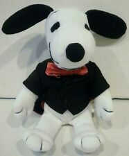 """7"""" Peanuts Snoopy Plush Wearing a Black Tux and Red Bow Tie"""