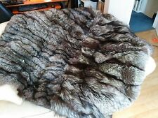 £300 OFF! LOVELY SOFT REAL SILVER / INDIGO FOX FUR THROW / BLANKET - 160x160cm