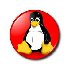 "LINUX TUXEDO PENGUIN - RED - 25mm / 1"" METAL BUTTON BADGE"