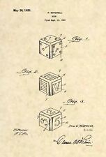 Official 1925 Dice US Patent Art Print- Vintage Vegas Craps Gambling Antique 468