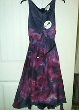 Neiman Marcus Lela Rose Purple Floral Watercolor Dress Size 2, 6 & 8 W/Belt NWT