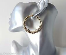 "Gorgeous shiny gold tone ACRYLIC bamboo creole style hoop earrings * 2"" - 5cm"
