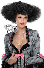 Adult Womens Black Lets Dance Queen Disco Short Curly Hair Wig Costume Accessory