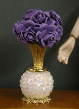 VASE OF  PURPLE  ROSES  for   BARBIE  ~ Patsy Mac ~ 1:6 scale ~ Handcrafted
