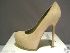 YSL Yves Saint Laurent Tribtoo Nude Suede 105 Pumps Shoes Heels 38.5 8.5 $795