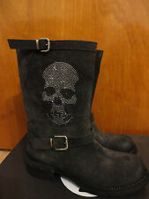 Fruit Italy Skull Studded Buckle Plein Charcoal Gray Suede Boots 39 9 APC