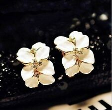 New Women Gardenia Flower Crystal Ear Studs Rhinestone Earrings Ear Hoop Buckle