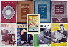 1916-1945 (9) Vintage CROCHET TATTING SEWING BOOKLETS: Priscilla, Mosaic, Wright