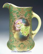 NIPPON HAND PAINTED ROSES & RAISED GOLD MAPLE LEAF WATER PITCHER