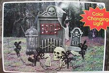 HALLOWEEN 30 PC BONEYARD KIT LIGHTED LIT TOMBSTONE SKELETON SPIDERS FENCE BATS