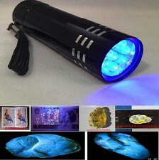 Magic 9 LED Blue Flashlight Outdoor UV ULTRA VIOLET BLACKLIGHT Torch Lamp Light#