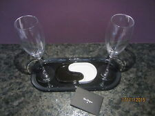 DOM PERIGNON CHAMPAGNE BLACK YIN & WHITE YANG DISHES BLACK TRAY,2 FLUTES RARE