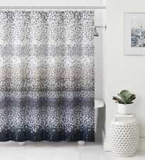 Celebration Black White Gray Brown White Striped Confetti Fabric Shower Curtain