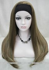 Excellent Brown Blonde Mixed Long women Daily 3/4 half wig with headband FTLG034