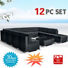 Wicker Rattan Garden Set Indoor Outdoor Sofa Lounge couch Setting Furniture 12Pc