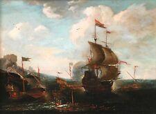 17th CENTURY OLD MASTER OLIO SU PANNELLO-Ottomano warhsips in battaglia-TURCA