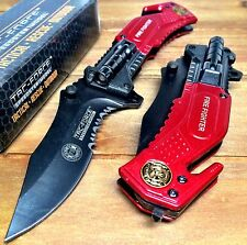 Tac-Force Spring Assisted FIRE FIGHTER  Pocket Knife with Glass Breaker & LED RD