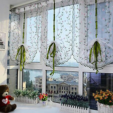 Rural Hand Embroidered Floral Shade Sheer Door Kitchen Curtain Free Shipping