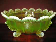 Vaseline uranium opalescent glass serving candy fruit bowl pattern yellow green