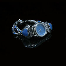 VINTAGE .925 Sterling Silver Natural Blue Denim Lapis Heart Wristwatch Watch