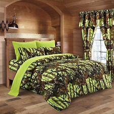 12 PC LIME CAMO KING BEDDING SET COMFORTER SHEET CAMOUFLAGE CURTAINS NEON GREEN