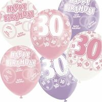 12 Happy 30th Birthday Pink,Lilac,White Helium Balloons,Party,Venue Decorations