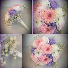 WEDDING MIXED FLOWERS PINK LILAC BRIDESMAID BOUQUET VINTAGE COUNTRY FOLIAGE FOAM