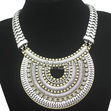 Egypt Cleopatra Layers Crescent Snake Chain Crystal Statement Bib Aztec Necklace